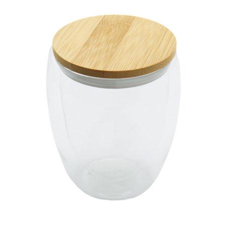 Tuplaseinäinen lasikuppi bambukannella